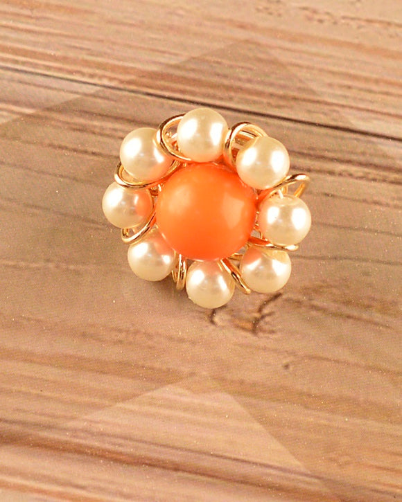 Floral Ring with Pearl Details