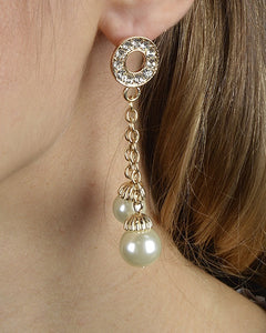 Rhinestone Studded Dual Paneled Pearl Drop Earrings