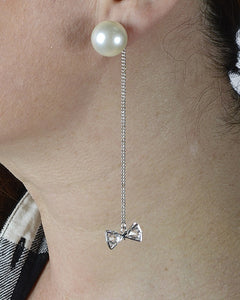 Faux Pearl Long Chain Danglers with Bow Accent