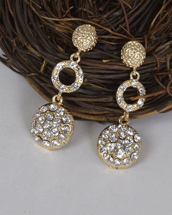 Metal Embellished Stone Studded Drop Earrings id.31467