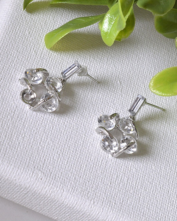 Interlinked Crystal Studded Drop Earrings
