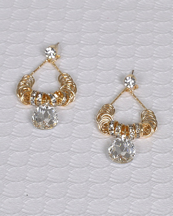 Round Rings Accented Rhinestone Dangler Earring