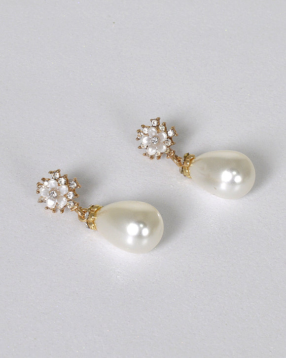 Floral Design Pearl Accent Drop Earrings