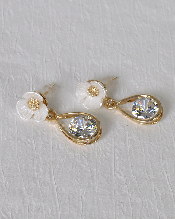 Floral Design Crystal Studded Drop Earrings