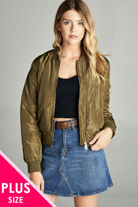 Ladies fashion plus classic padding bomber jacket
