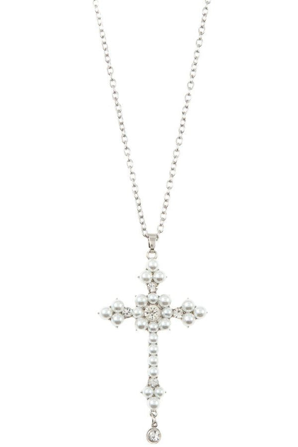 Ladies pearl accent cross pendant long necklace