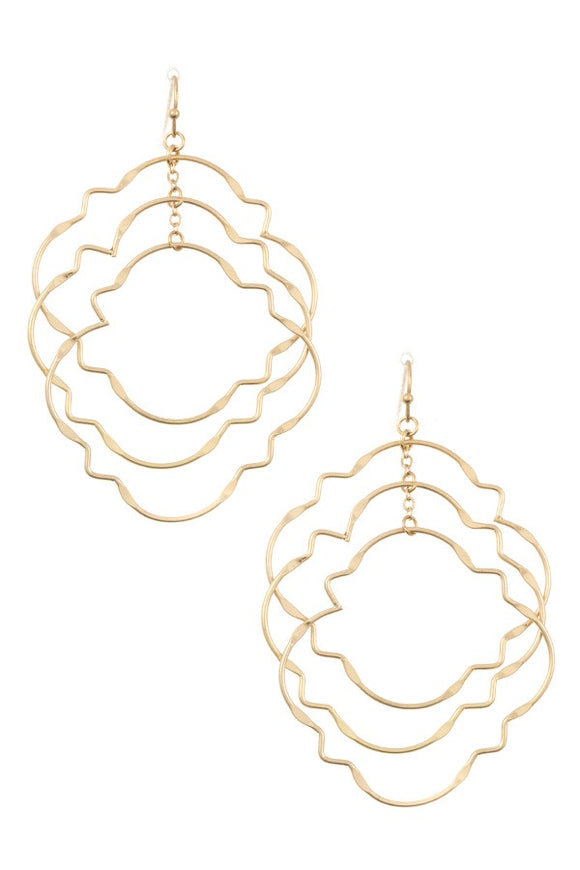 Ladies fashion multi link quatrefoil dangle earring