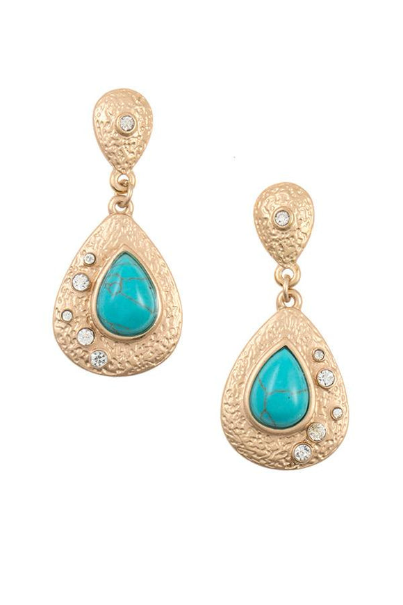 Textured teardrop gem dangle earring