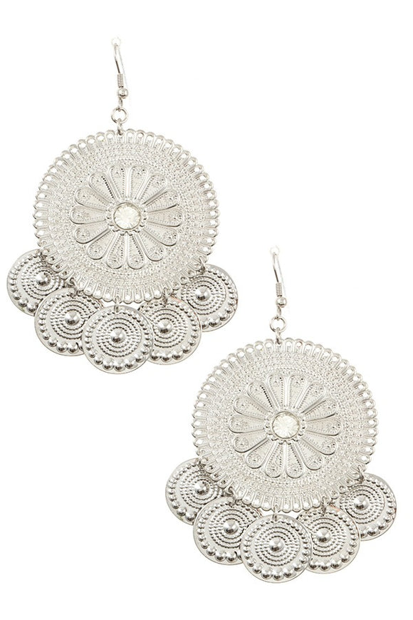 Floral textured round with coin dangle earring
