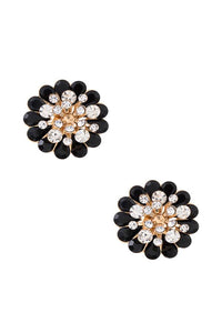 Floral gem pave clip on earring