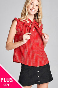 Ladies fashion plus size short ruffle sleeve self tie dot print crepe woven top