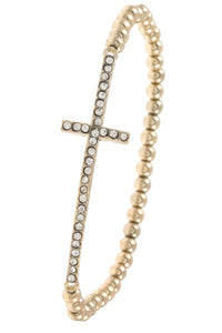 Rhinestone pave beaded cross bracelet