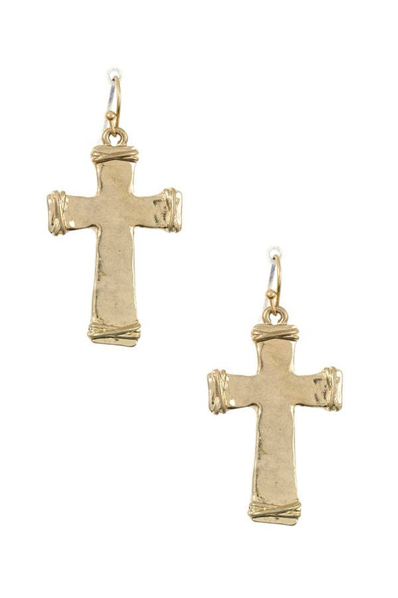 Wired cross dangle earring