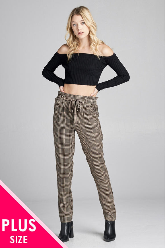 Ladies fashion plus size self ribbon detail long leg checked print woven pants