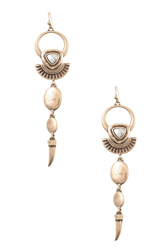 Link metal ornate dangle earring
