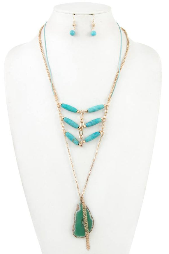 Stone layered link gem long necklace set