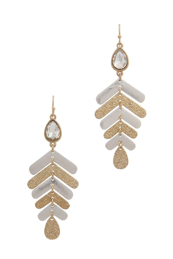 Rhinestone textured metal drop earring