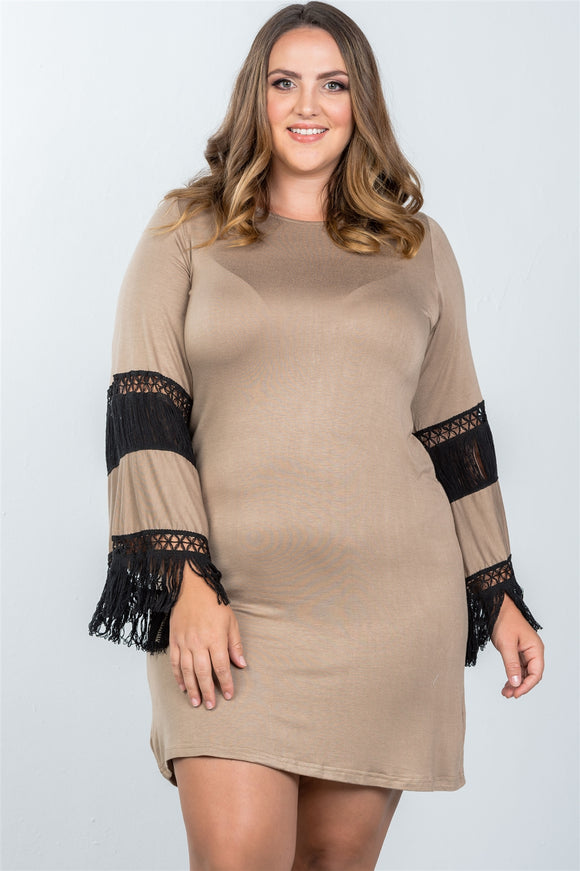 Ladies fashion plus size boho mocha black contrast crochet mini dress
