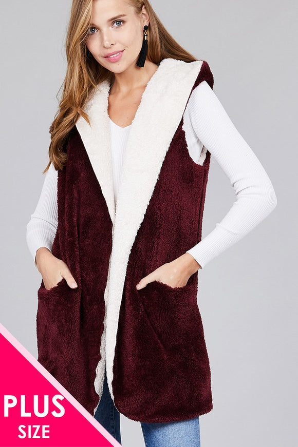 Ladies fashion plus size open front w/hoodie faux fur soft fluffy vest