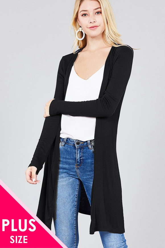 Ladies fashion plus size long sleeve open front side slit tunic length rayon spandex rib cardigan