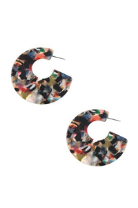 Flat semi circle acetate earring