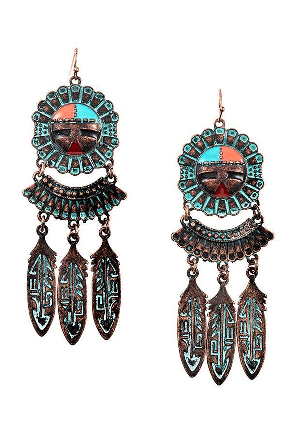 Tribal Etched Dangle Earring