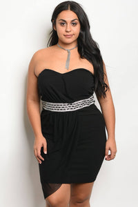 Ladies fashion plus size sleeveless tube dress with a sweetheart neckline and jeweled waistline detail