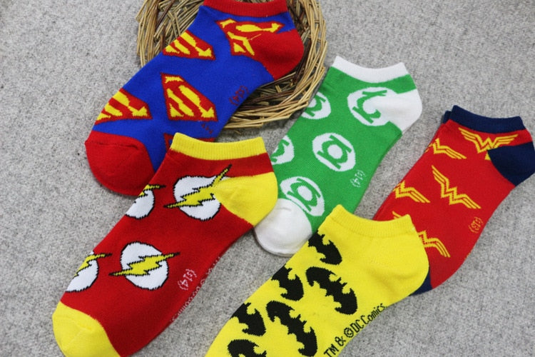 5Styles Superman Batman Green Lantern Cosplay Socks Women Men The Flash Wonder Woman Ankle Socks Couple Lovers Sports Socks
