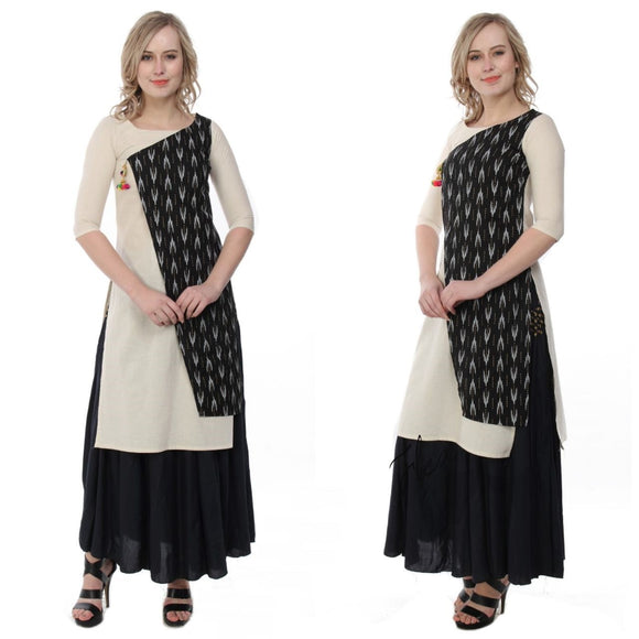 Azoobi Black and Cream Colour Kurti