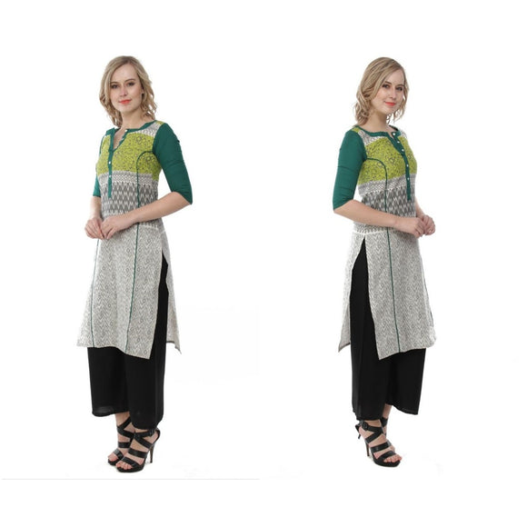Azoobi Grey and Green Kurti