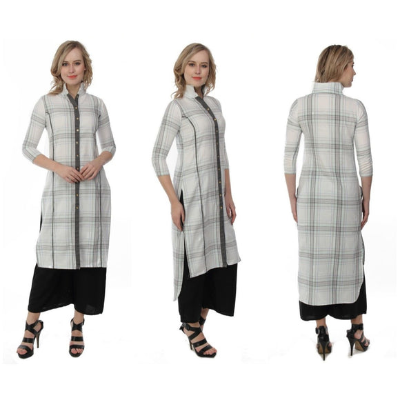 Azoobi Off White Check Collared Kurti