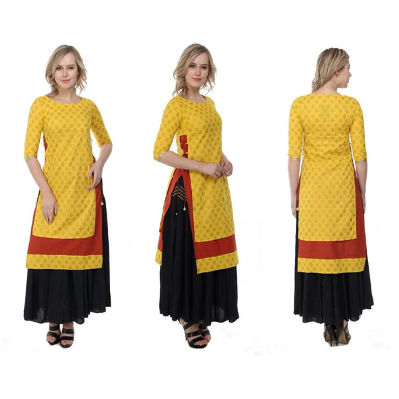 Azoobi Mustard Double Layered Kurti