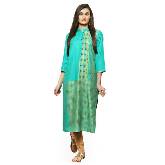 Azoobi Green Golden Printed Kurti