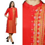 Azoobi Red Golden Printed Kurti