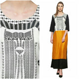 Azoobi Mustard and Black Kurti