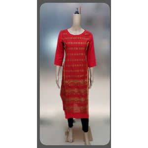 Azoobi Red Cotton Kurti