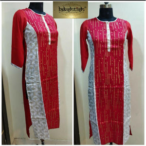 Azoobi Red and White Party Wear Kurti