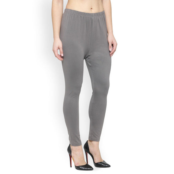Women's Rich Cotton ankle Length Legging - (Colour-Grey)