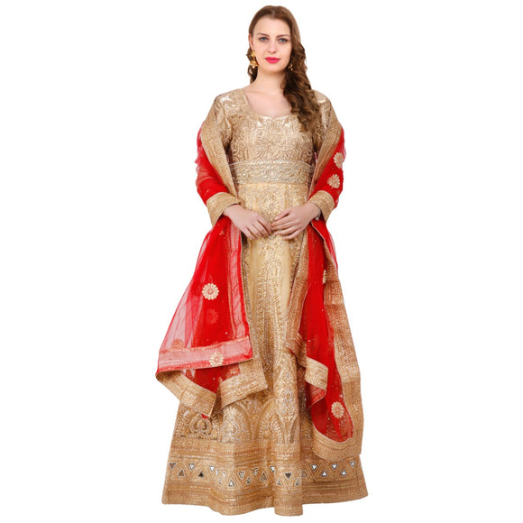 Azoobi Women's Heavy Embroidered Silk And Net Designer Wedding Dress (Golden)