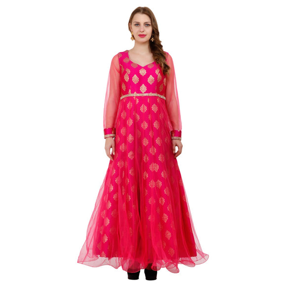 Azoobi Women's Magenta Pink Party Wear Designer Anarkali Dress