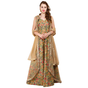 Azoobi Green Printed Party wear Gown with cape