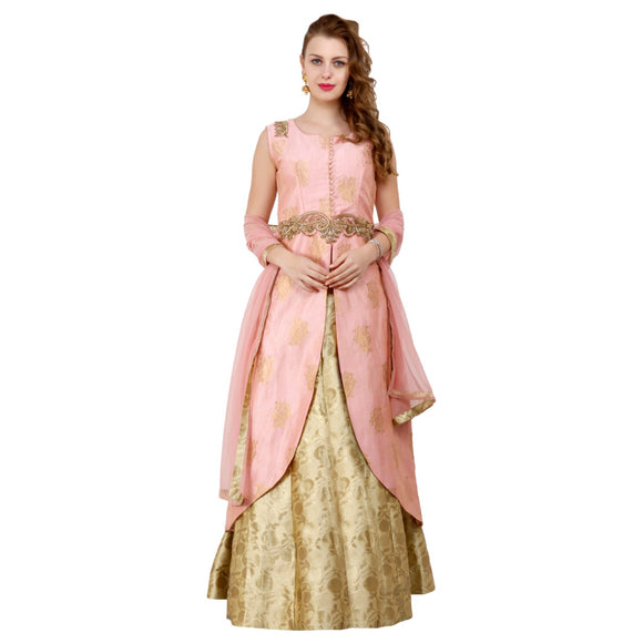 Azoobi Women's Pink Silk Stitched Party wear Lehenga Suit