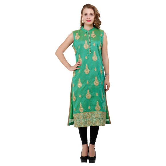 Azoobi Green Silk Kurti With Embroidery Work
