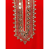 Azoobi Red Party Wear Long Top With Zari Work