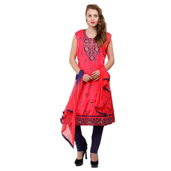 Azoobi Red Colour Embroidered Silk Designer Suit Women's Clothing Designer Wear