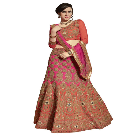 Azoobi Fancy Women's Embroidery, Stone Tourky Silk Lehenga Choli With Un-Stitched Blouse