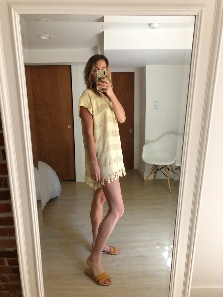 Open Weave Tunic in Soft Yellow