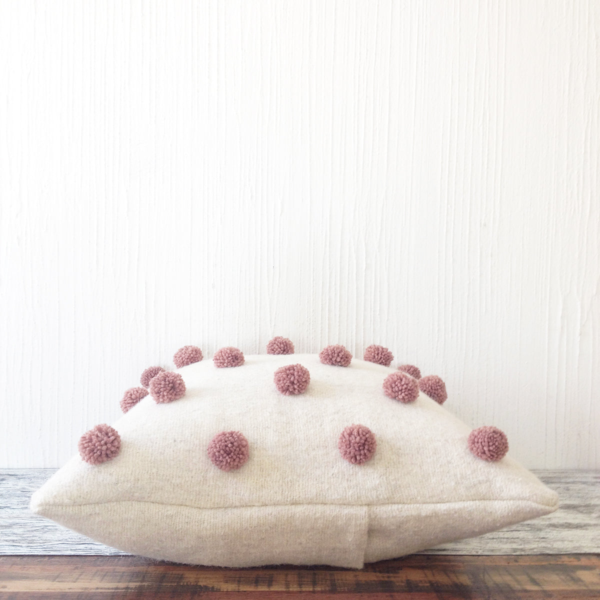 Pom Pom Pillow - Ivory, Gray or Dusty Rose