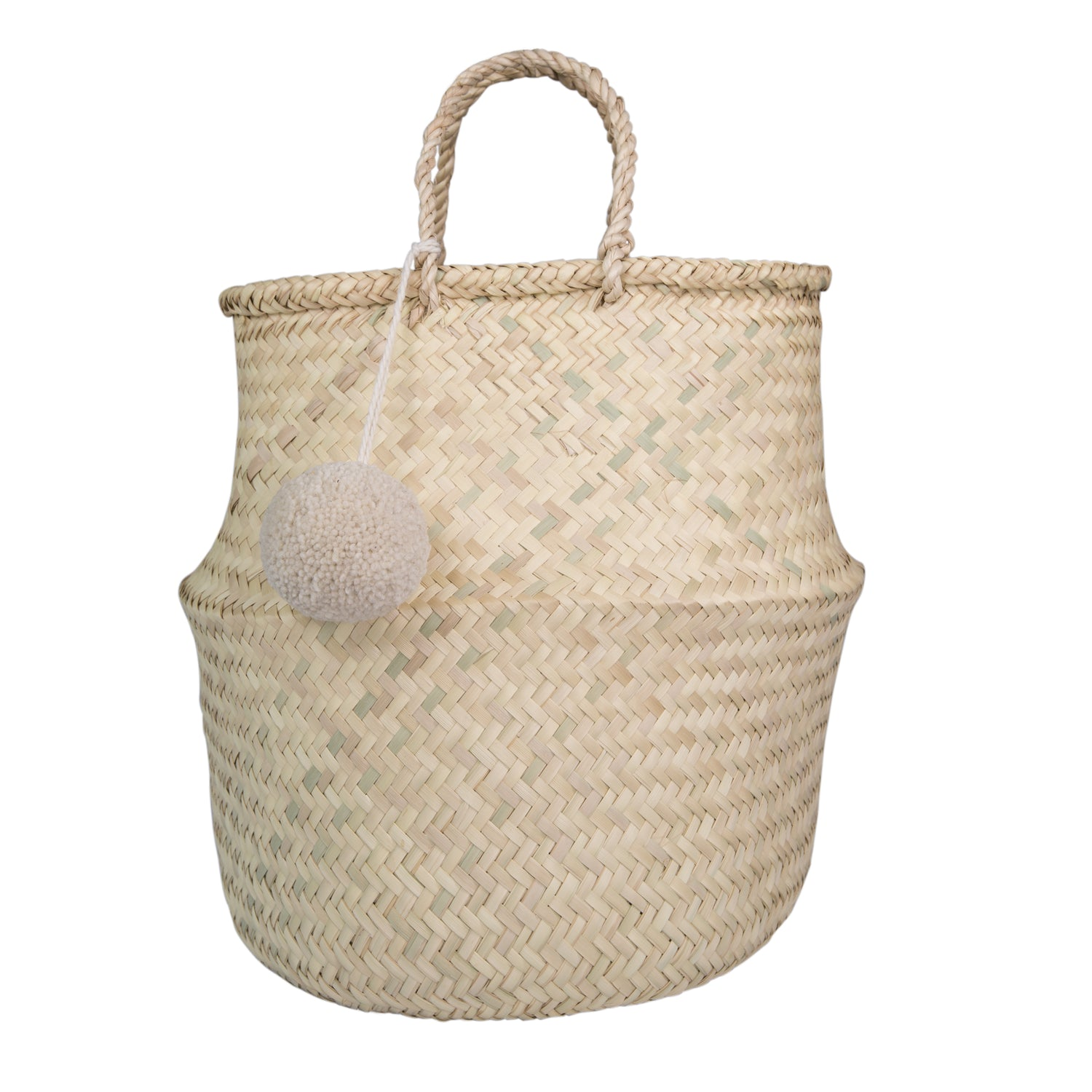 Panza Palm Basket with Wool Pom