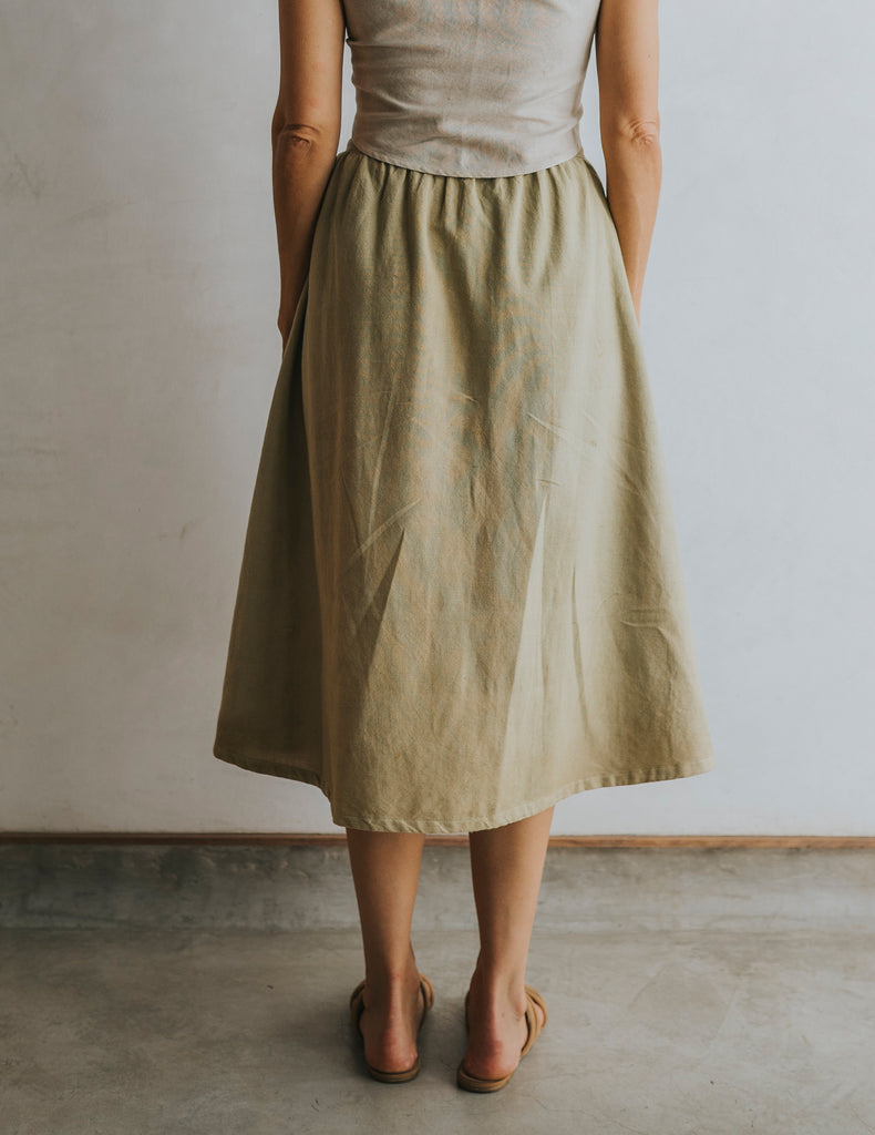 Bella Button Skirt - Olive Green
